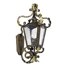 Artistic Ltg-Wall Lantern, Castle Bronze, Water Glass