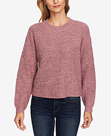 CeCe Metallic Ribbed Pullover Sweater