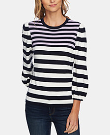 CeCe Striped Jersey Pullover Sweater