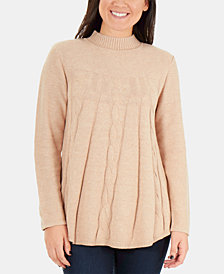 NY Collection Cable-Knit Mock-Neck Swing Sweater