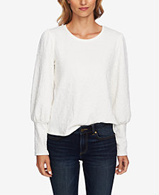 CeCe Textured Bishop-Sleeve Top