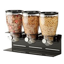 Zevro by Honey Can Do Commercial Plus Triple Canister Cereal Dispenser, Black