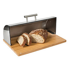 Honey Can Do Stainless Steel breadbox with Bamboo Board