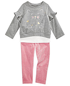 First Impressions Baby Girls Kitty Ruffle Top & Leggings Separates, Created for Macy's