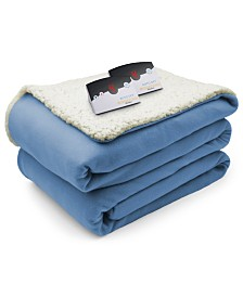 Biddeford Heated Comfort Knit Fleece/Sherpa Queen Blanket