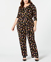 b5484cfb77b NY Collection Plus Size Printed 3 4-Sleeve Jumpsuit