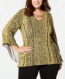 NY Collection Plus Size Printed Hardware Angel-Sleeve Blouse