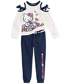 Hello Kitty Toddler & Little Girls Cold Shoulder Sweatshirt and Jogger Pants