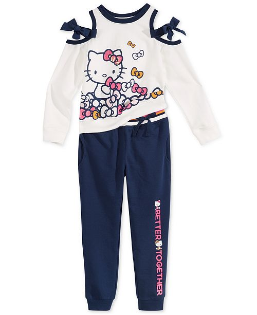 20f52394b Hello Kitty Toddler & Little Girls Cold Shoulder Sweatshirt and Jogger Pants