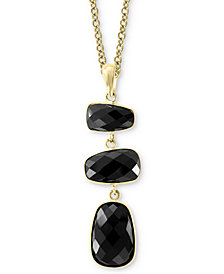 "EFFY® Onyx Drop 18"" Pendant Necklace in 14k Gold"