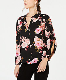 I.N.C. Petite Floral Split-Sleeve Button-Up Top, Created for Macy's
