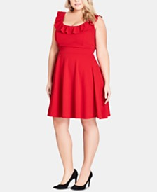 City Chic Trendy Plus Size Power-Ruffle Dress