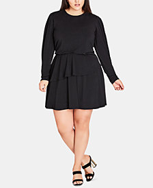 City Chic Trendy Plus Size Peplum Fit & Flare Dress
