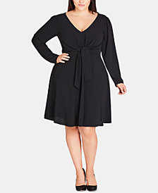 City Chic Plus Size Tie-Front Fit & Flare Dress