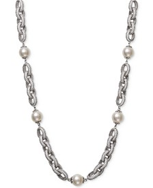 "Cultured Freshwater Pearl (9-1/2mm) & Cubic Zirconia 18"" Statement Necklace in Sterling Silver"