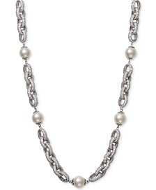 "Belle de Mer Cultured Freshwater Pearl (9-1/2mm) & Cubic Zirconia 18"" Statement Necklace in Sterling Silver"