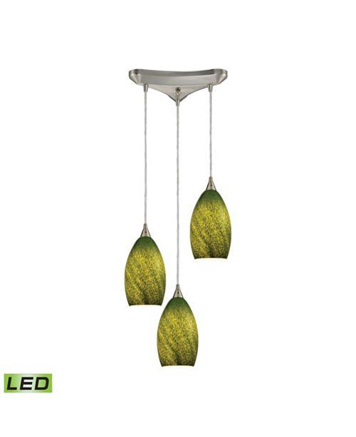 ELK Lighting Earth 3 Light Pendant in Satin Nickel and Grass Green Glass