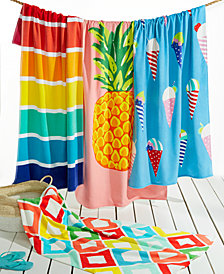 Martha Stewart Collection Printed Beach Towel Collection, Created for Macy's