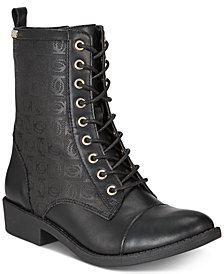 bebe Olsen Lace Up Combat Booties