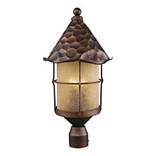Rustica 3-Light Outdoor Post Light in Antique Copper with Scavo Glass