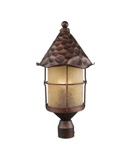 ELK Lighting Rustica 3-Light Outdoor Post Light in Antique Copper with Scavo Glass