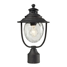1 Light Post Mount In Weathered Charcoal