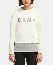 DKNY Layered-Look Rhinestone-Graphic Sweater, Created for Macy's