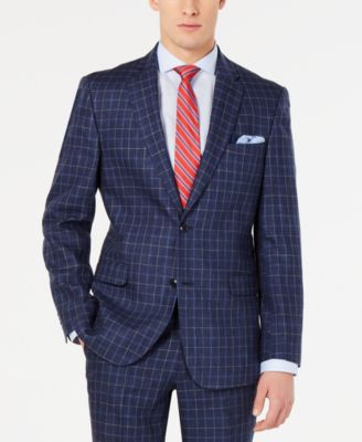 Men's Modern-Fit Navy Windowpane Suit Jacket