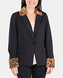 NY Collection Faux-Fur-Trim Ponté-Knit Blazer