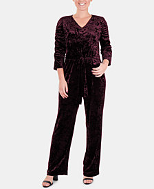 NY Collection Velvet Ruched-Sleeve Jumpsuit