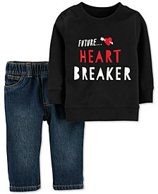 Carter's Baby Boys & Girls 2-Pc. Heartbreaker Cotton Sweatshirt & Denim Pants Set