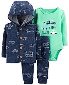 Carter's 3-Pc. Baby Boys Car-Print Hoodie, Going Places Bodysuit & Jogger Pants Set