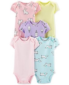 Carter's Baby Girls 5-Pk. Animal-Print & Striped Bodysuits