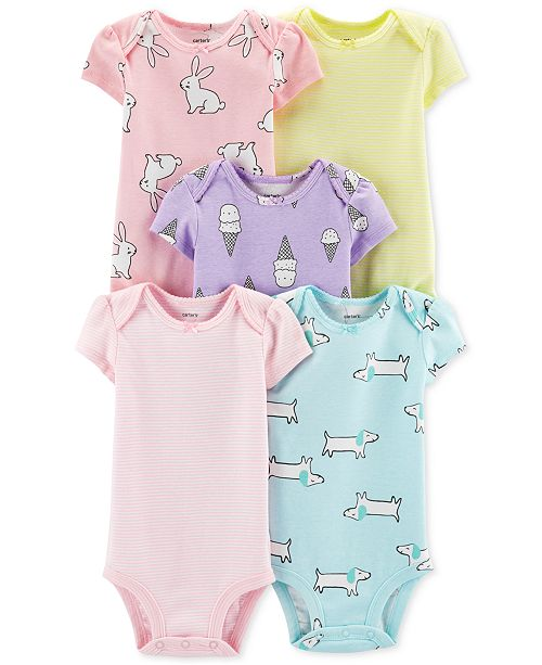 699d3b881b Carter s Baby Girls 5-Pk. Animal-Print   Striped Bodysuits - All ...