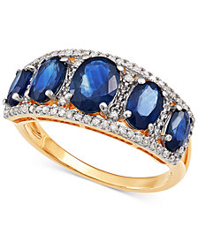 Sapphire (3 ct. t.w.) & Diamond (1/8 ct. t.w.) Ring in 10k Gold