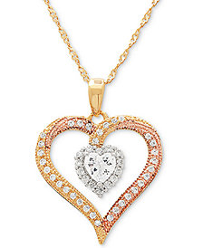 "Cubic Zirconia Tricolor Heart 18"" Pendant Necklace in Sterling Silver & Gold- and Rose Gold-Plate"
