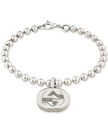 Women's Interlocking G Logo Beaded Charm Bracelet in Sterling Silver