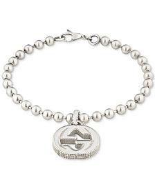 Gucci Women's Interlocking G Logo Beaded Charm Bracelet in Sterling Silver