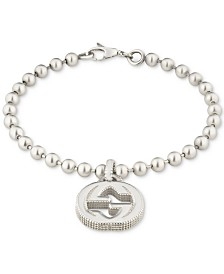Gucci Women's Interlocking G Logo Beaded Charm Bracelet in Sterling Silver