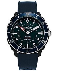 Alpina Men's Swiss Seastrong Horological Blue Rubber Strap Hybrid Smart Watch 45.5mm