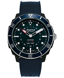 Alpina Men's Swiss Seastrong Horological Blue Rubber Strap Hybrid Smart Watch 45.5mm