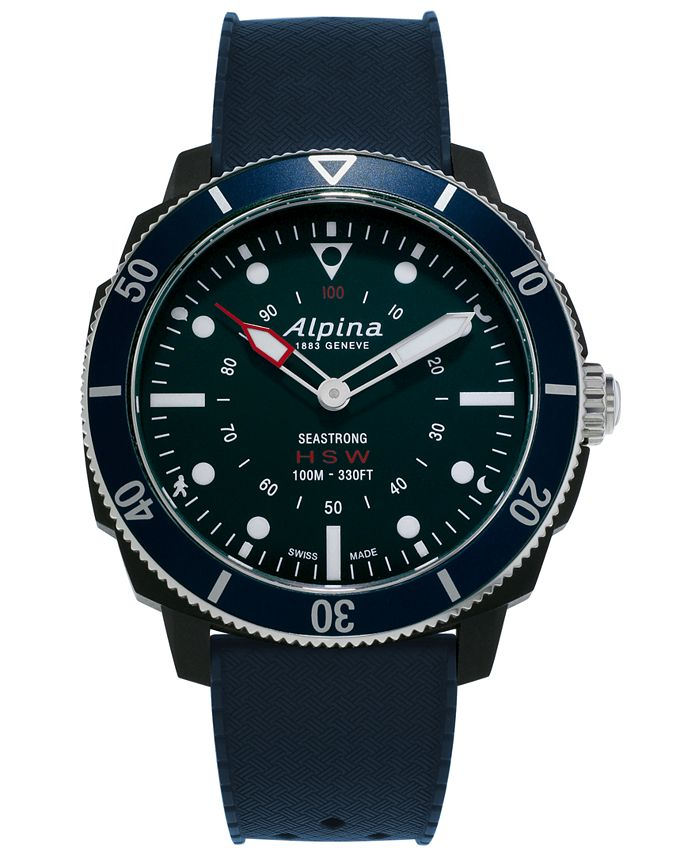 Alpina - Men's Swiss Seastrong Horological Blue Rubber Strap Hybrid Smart Watch 45.5mm