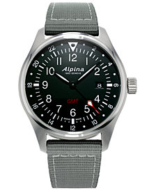 Alpina Men's Swiss Startimer Pilot Light Gray Nylon Strap Watch 42mm