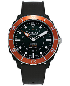 Alpina Men's Swiss Seastrong Horological Black Rubber Strap Hybrid Smart Watch 44mm