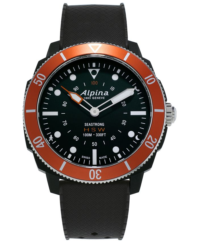 Alpina - Men's Swiss Seastrong Horological Black Rubber Strap Hybrid Smart Watch 44mm