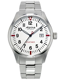 Alpina Men's Swiss Startimer Pilot Stainless Steel Bracelet Watch 42mm