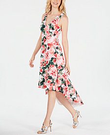 Calvin Klein Printed High-Low Dress