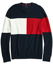 Tommy Hilfiger Adaptive Men's  Color Block Sweater with Hoop and Loop Fastener at Shoulder