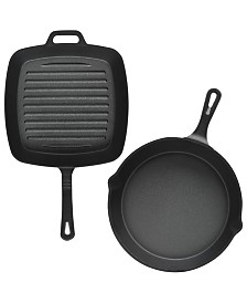 "Sedona Cast Iron 10"" Skillet & 10"" Square Grill Set"
