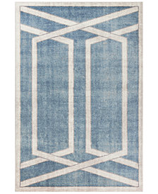 "Libby Langdon Winston Directional Border 5817 Teal 6'6"" Round Area Rug"